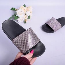Ladies Womens Slip On Diamante Sliders Slippers Sparkly Sandals Essex Shoe Size