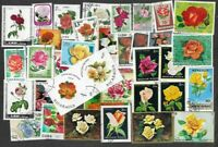 Roses on stamps 100 all different collection-flowers