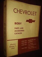 1938-1963 CHEVROLET BODY PARTS CATALOG / ORIGINAL PARTS BOOK