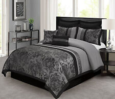 New Silky Burgundy Grey Black Jacquard Floral 8 pcs Cal King Queen Comforter Set
