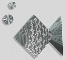 Modern Abstract Metal Wall Art Tropical Fish Decor - Silver Dollar by Jon Allen