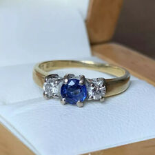 Antique Platinum & 18ct Gold Ceylon Blue Sapphire & Diamond Ring Trilogy