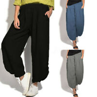 ZANZEA Women Summer Casual Oversize Loose Solid Long Pants Ladies Baggy Trousers