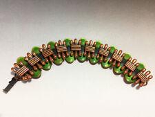 Matisse Renoir Enamel Copper & Green Link Bracelet Forest Green - Early 1950's