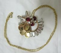 Vintage 12K Gold Plated Ruby and Crystal Rhinestone M & S Necklace