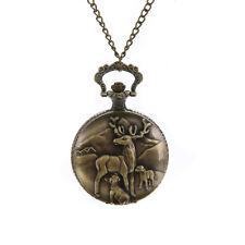 Vintage Steampunk Retro Bronze Pocket Watch Quartz Pendant Necklace Chain Gifts #7
