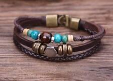 G77 Bronze Ethnic Wood Beads Hemp Leather Bangle Bracelet Cuff Metal Clasp