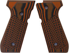 Beretta 92 FS Grips G10 Golfball Texture by LOK Grips Orange/Black