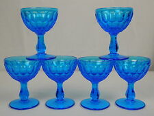 Set of 6 Vintage Cobalt Blue Glass Footed Dessert Compote Cups Dishes Thumbprint