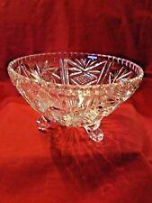 Pinwheel Crystal Glass 3 Footed Candy Dish Bowl
