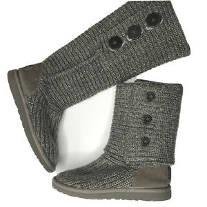 UGG Classic Cardi Knit 2 Way Foldable Boot / Bootie Gray Women's US 6 ($149)