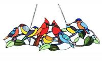 Stained Glass Window Panel Singing Birds Tiffany Style   ~LAST ONE THIS PRICE~
