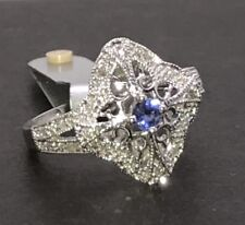 9ct White Gold Sapphire And Diamond Cluster Ring UK Size K 1/2, New. Pretty.