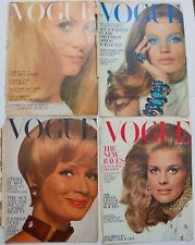 4x 60s vintage Vogue covers Veruschka Catherine Deneuve Candice Bergen Bailey