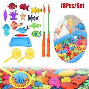 18Pcs/Set Baby Kids Magnetic Fish Bath Shower Toys Game Rod Fishing Toddler Toy