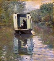 Oil painting Claude Monet - Le Bateau Atelier (The Boat Studio) canvas