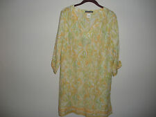 SIGRID OLSEN WOMENS TOP TUNIC WHITE YELLOW GREEN SILK COTTON M NEW
