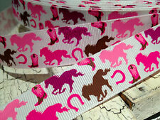 "7/8"" PINK and Brown HORSE WESTERN THEMED GROSGRAIN RIBBON BY THE YARD BOWS"