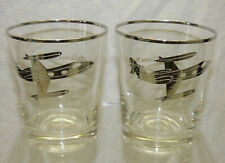 Vtg 2 Air Kaman Silvered Dof Double Old Fashioned Promo Glasses Learjet 23