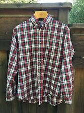 Pendleton Thin Wool Shirt Med Red Green Christmas Camping Plaid Long Sleeve