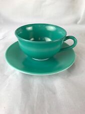 Hazel Atlas ovide teal cup and saucer tempo color scheme 1950's