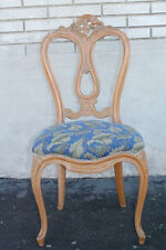 Lovely French Provincial Hand Painted Vanity Desk Side End Chair, New Upholstery