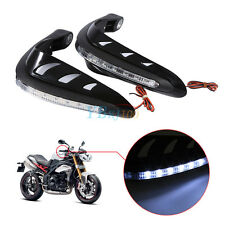 2Pcs Moto Guidon Guards Proteges Mains LED Clignotants Intégrés Diurne Lampe