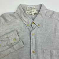 H&M Button Up Shirt Men's Large Long Sleeve Gray Regular Fit Casual 100% Cotton