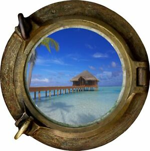 Huge 3D Porthole Exotic Beach View Wall Stickers Film Mural Decal Wallpaper 489