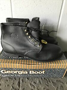 """VTG Georgia Work Boot 6"""" Steel Toe Black Leather Made In USA NOS BOX SZ 13 R"""