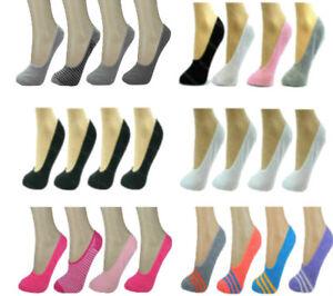 Ladies Invisible Socks 4 Pk Womens Girls Trainer Footsies Shoe Liners Ballerina