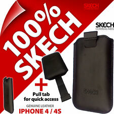 Skech Strap Pouch Pull Tab GENUINE LEATHER Case Cover for Apple iPhone 4 / 4S