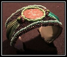 Handmade Shiborhi and Bead Embroidery Bracelte - UK 2 Pence Coin, Green/Copper
