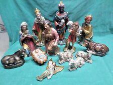 Vtg 13 Piece Christmas Nativity Set Composite Japan Large Figurines Baby Jesus