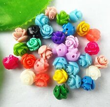 30pcs Beautiful Mixed colors Giant clam carved flower pendant 8x8x8mm BC4369
