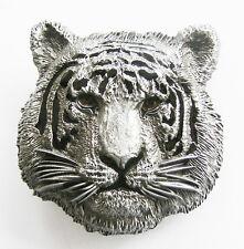 blanc tigre animal félin 3D BOUCLE DE CEINTURE ARGENT NOUVEAU