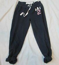 ABERCROMBIE girls kids Small navy blue rolled cropped fleece sweatpants