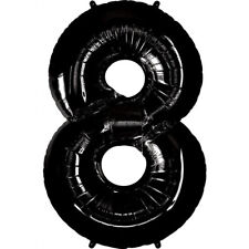 """40"""" Giant Black Eight Year Old Baby First Birthday 8 Month Number Float Balloon"""