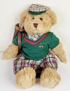 """Russ Berrie 15"""" Plush Golfer Bear Bogey jointed Preowned with clubs"""
