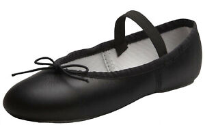 Black Ballet Dance Leather Shoes Full Sole Children's & Adult's Sizes