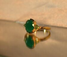 3.67 ct.  NATURAL GENUINE EMERALD .925 STERLING  SILVER COCKTAIL SIGNET RING YG