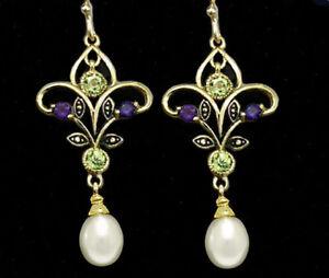 Genuine 9ct Gold Natural Peridot, Amethyst Pearl Suffragette Chandelier Earrings