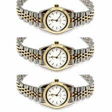 3 Pieces Womens Two Tone Thin Case White Dial Fashion Watch W Jubilee Style Band