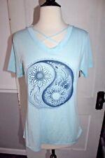 NEW! Ying Yang Mandala Yoga Mediation Tee Top Shirt Blue Medium M Thin Soft