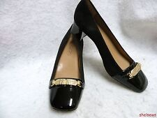 Talbots Low Heel Black Suede & Patent Pumps 5.5B Beautiful Condition LN