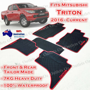 Waterproof Rubber Floor Mats Tailor Made Mitsubishi Triton 2015 16 17 2019 Red