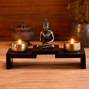 MyGift Buddha Statue Zen Decoration with 2 Tealight Candle Holders and Wood Tray