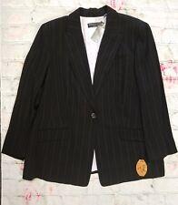 NEW Dana Buchman -Sz 24 $490- Black One-Button Pinstripe Wool Blazer Jacket -a10