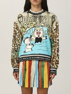 Dolce Gabbana Cartoon Swetshirt Sequin Loose Fit Size S-l
