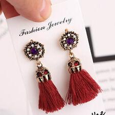 Rhinestone Long Tassel Dangle Earrings for Women Thread Fringe Drop Earrings XTF